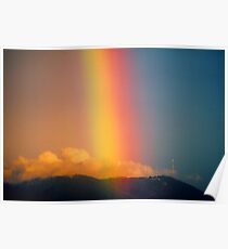 Rainbow over Mount Dandenong, Victoria, Australia. Poster
