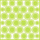 Green Circles on White | Mod Graphic Pattern #1 | Nadia Bonello | Canada by Nadia Bonello