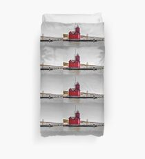 """Holland Harbor Lighthouse"" - Big Red Duvet Cover"