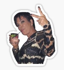 Kris Jenner Peace Sign with a Drink Sticker