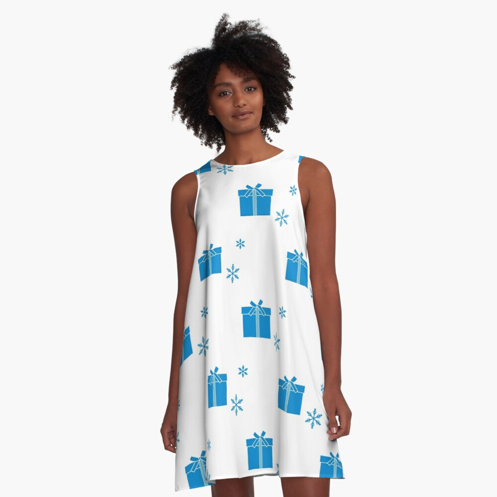 Seamless pattern with gift boxes and snowflakes. A-Line Dress Front