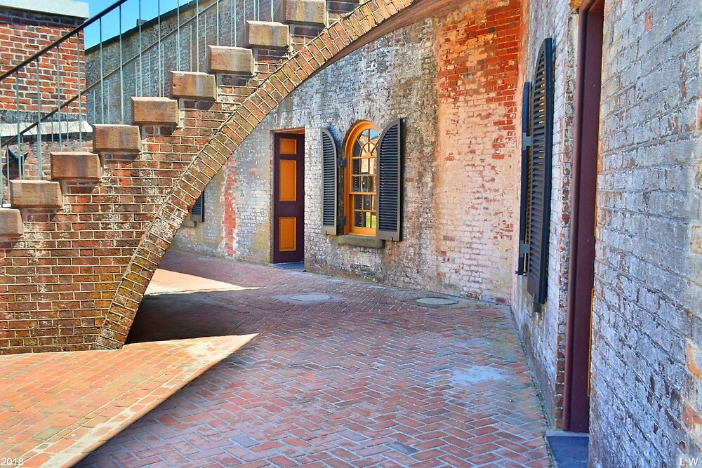 Under The Stairs At Fort Macon by LisaWootenPhoto