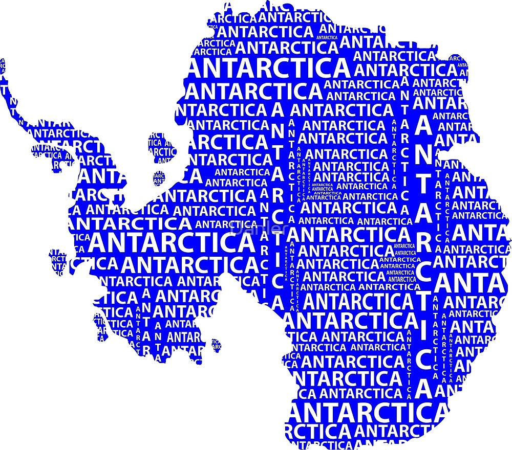 Map of continent Antarctica - illustration by Danler