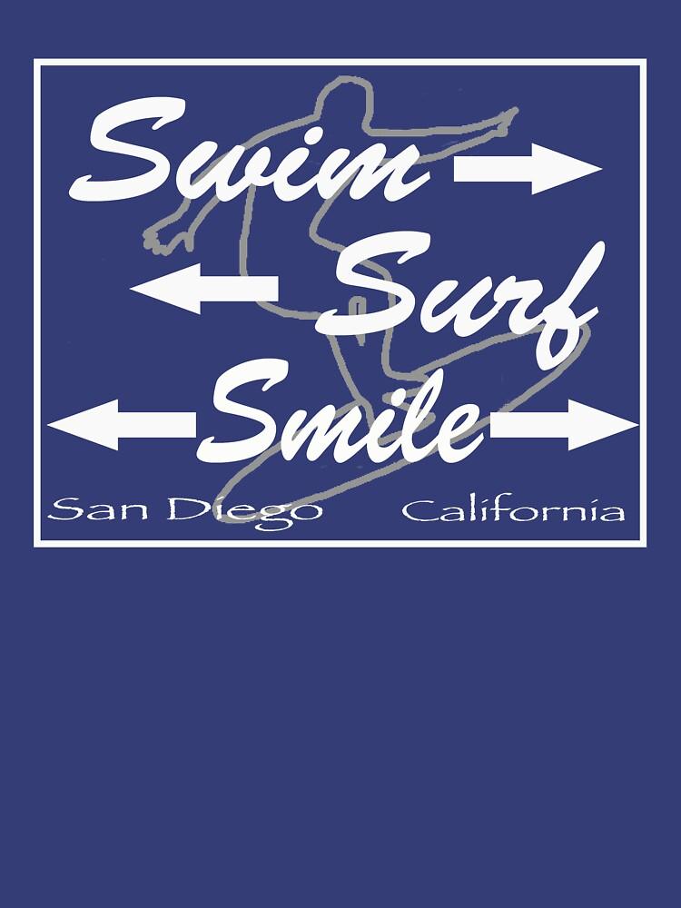 San Diego California Surf Beach Swim Smile T-Shirt by Picart13
