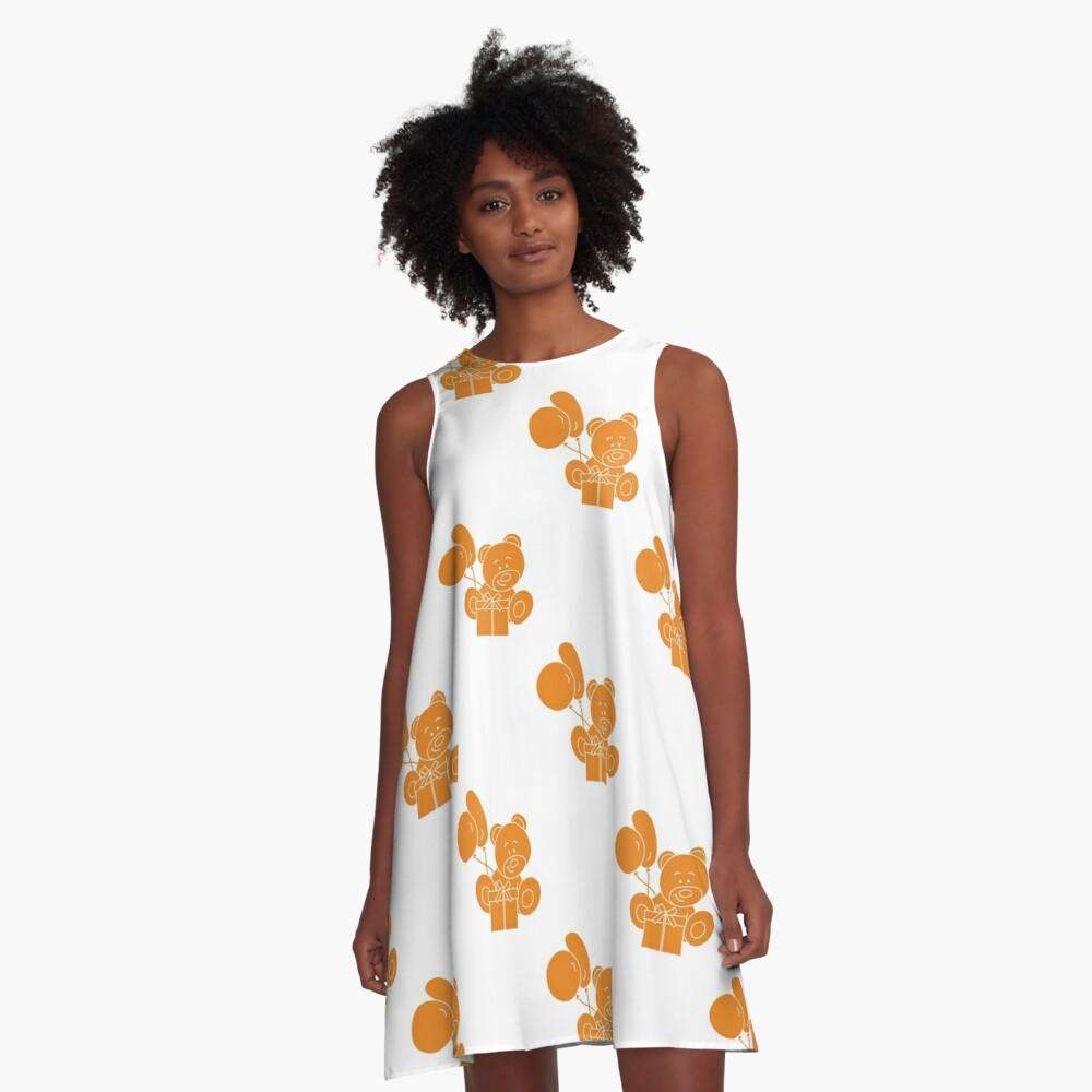 Seamless pattern with children's toys. A-Line Dress Front