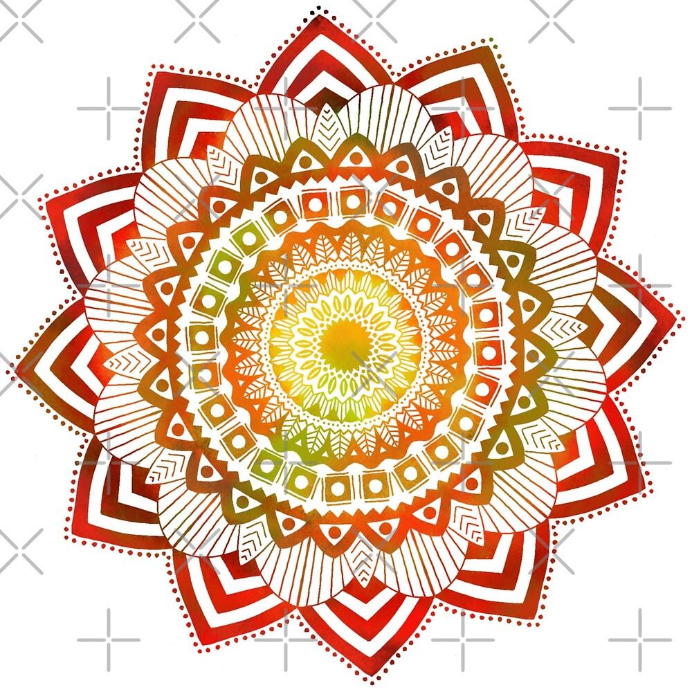 Red, Yellow, Green, Orange Mandala by Kayla Folino