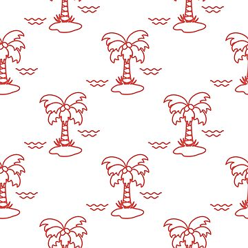 Seamless pattern with palm trees and waves. by aquamarine-p