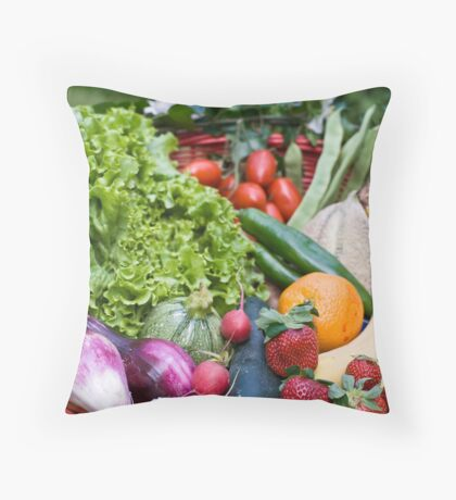 Fruit and vegetable basket Throw Pillow