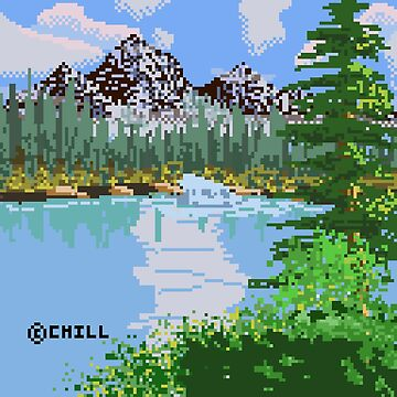 Mountain Waterfall Pixel Painting by thechillmethod