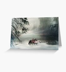 Horses in the Snow Holiday Christmas Image Free Horses Greeting Card