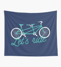 Let's Ride Tandem Bicycle Illustration - Teal / White Wall Tapestry