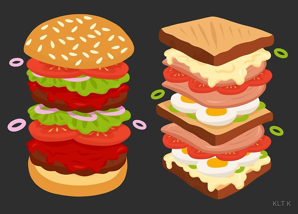 burger versus sandwich by katis