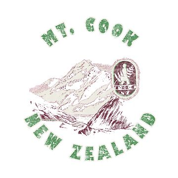 Mount Cook New Zealand Vintage Travel Decal by hilda74