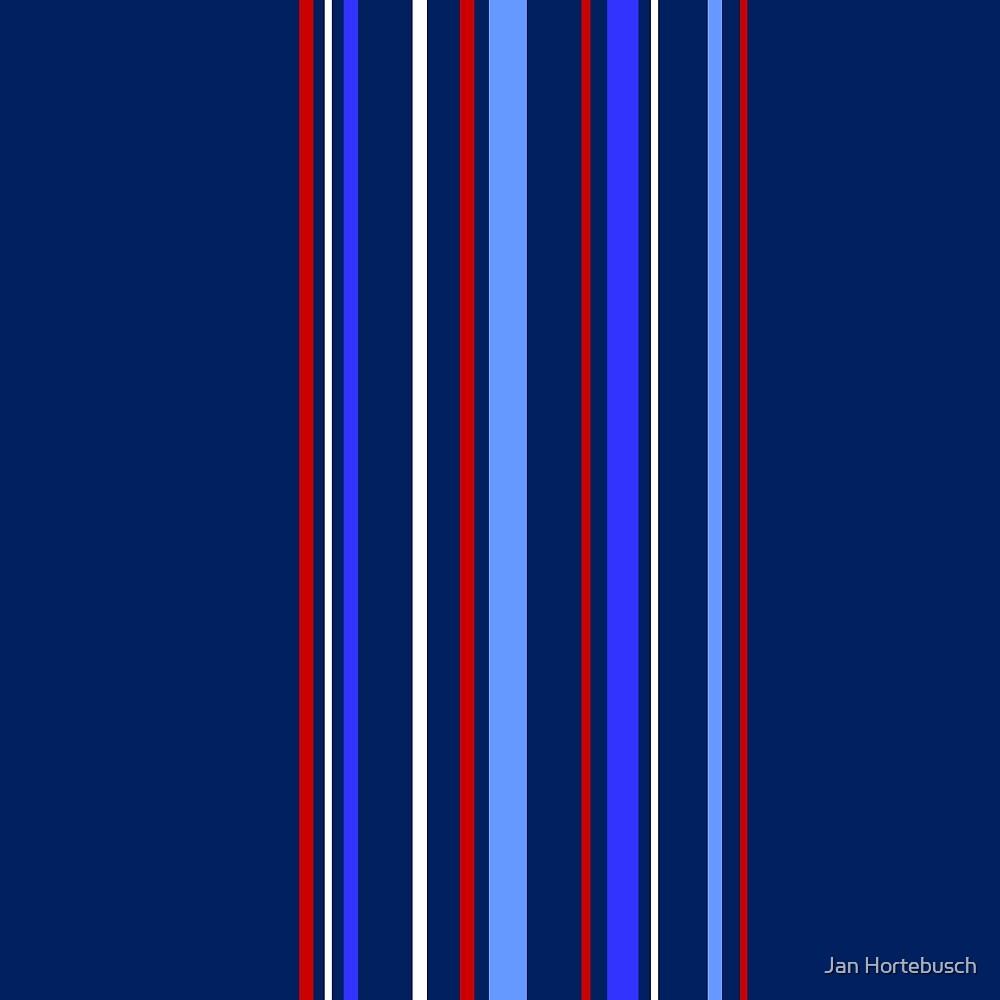 Vertical Stripes Dark Blue by Jan Hortebusch