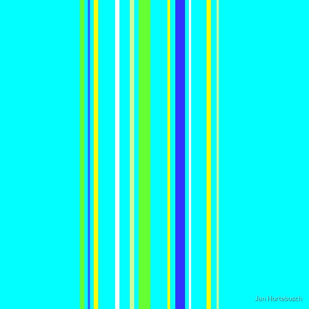 Vertical Stripes Turquois Yellow by Jan Hortebusch