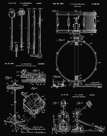 Drummer Gift Vintage Patent Print Drum Set by MadebyDesign