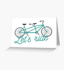 Let's Ride Tandem Bicycle Illustration - Teal  Greeting Card