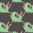 Two Green Dinosaurs with Pink Leaves by zoel