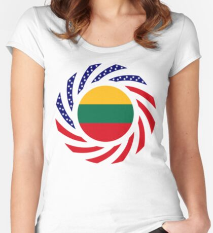 Lithuanian American Multinational Patriot Flag Series Fitted Scoop T-Shirt