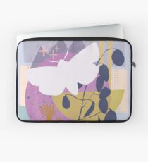 Moth flying over mountain moon Laptop Sleeve