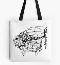 Hands painted portrait  magic fish with a kitten inside Tote Bag