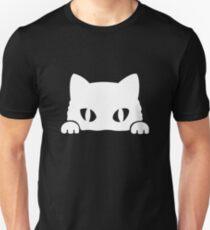 Gato Asomando blanco Unisex T-Shirt