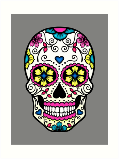 'Purple Sugar Skull' Art Print by TeaTimeIsOver
