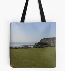 The sun always shines over Whitecliff Bay. Tote Bag