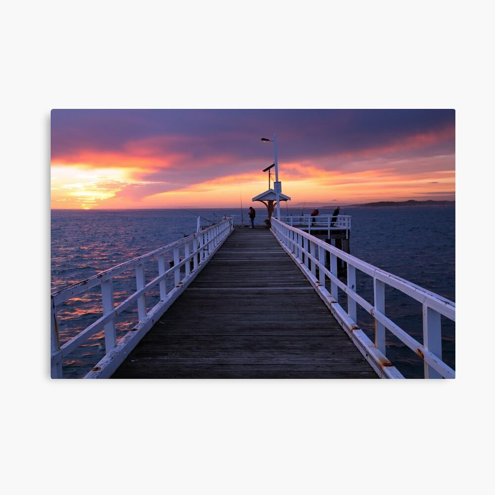 Fishermen on Point Lonsdale Pier, Victoria, Australia Canvas Print