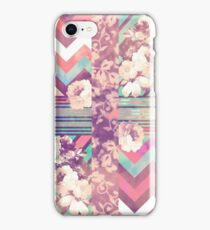 Retro Pink turquoise Floral Stripe Chevron Pattern iPhone Case/Skin