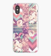 Retro Pink turquoise Floral Stripe Chevron Pattern iPhone Case