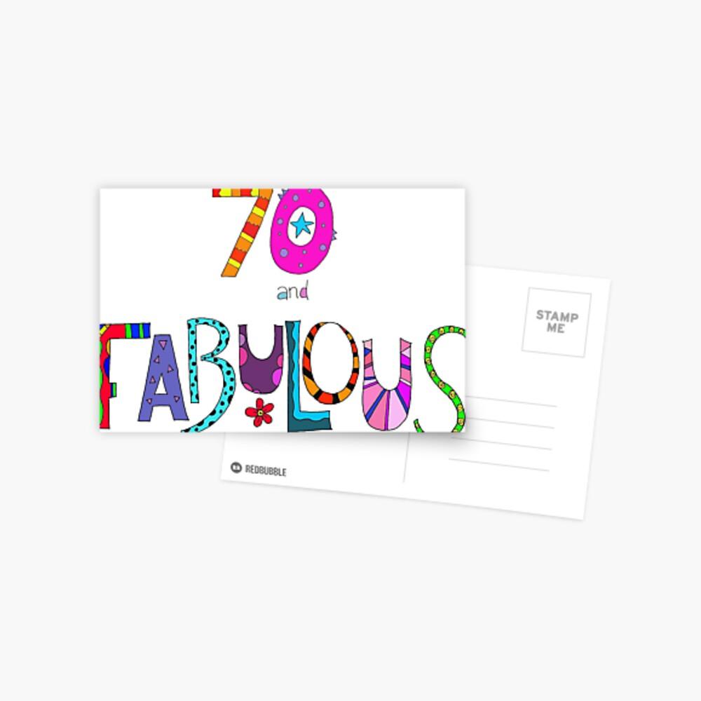 70 und fabelhafter 70. Geburtstag Bunter Entwurf Postkarte