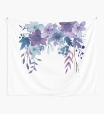 Blue Purple Flowers Wall Tapestry
