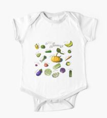 illustration of a set of hand-painted vegetables, fruits Kids Clothes