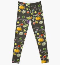 illustration of a set of hand-painted vegetables, fruits Leggings