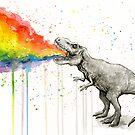 T-Rex Puking Rainbow Taste the Rainbow by Olga Shvartsur