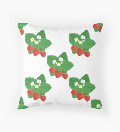 Seamless Pattern of Strawberries with Leaves and Flowers Throw Pillow