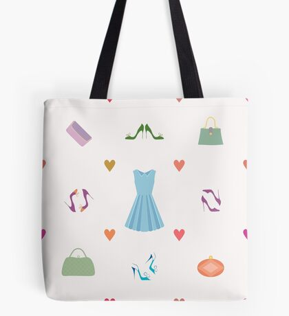 Seamless pattern of dress, shoes, handbags, hearts Tote Bag