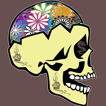 Skull Flower Sugar Brain T-Shirt  by Picart13