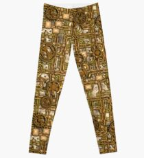 Steampunk Panel, Gears and Pipes - Brass Leggings