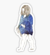 Little girl in a watercolor dress Sticker