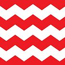 Bright Red and White Chevron by itsjensworld