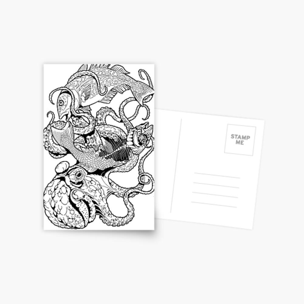 Pisces (black) Postkarte