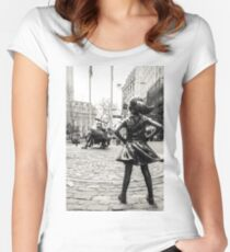 Fearless Girl & Bull NYC Women's Fitted Scoop T-Shirt