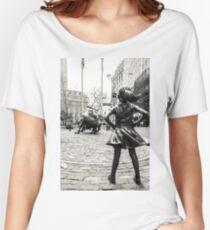 Fearless Girl & Bull NYC Camiseta ancha