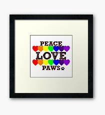 Peace, Love & Paws Rainbow Hearts Dog Slogan Gifts for Dog Lovers Framed Print