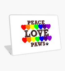 Peace, Love & Paws Rainbow Hearts Dog Slogan Gifts for Dog Lovers Laptop Skin