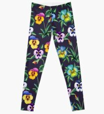 Pansy violet pattern Leggings