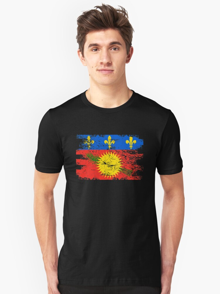 Guadeloupe Flag Gift Country Patriotic Travel Shirt Americas Light Unisex T-Shirt Front