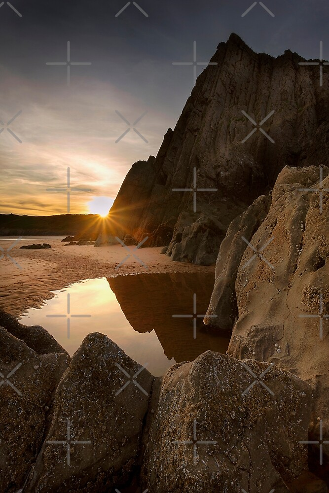 Sunset at Three Cliffs Bay by Leighton Collins